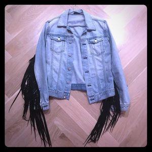BLK DENIM jean jacket with suede fringe